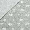 Bio Jaquard Jersey - Mittelgrau meliert/ weiß mit Origami Tieren - Design von Huebs.ch