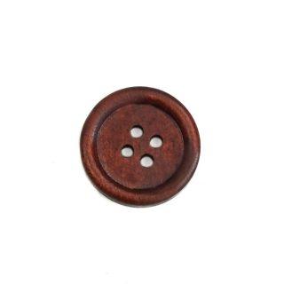 Holzknopf rund mit Rand - 20 mm - Kirschbraun lackiert - 4 Loch