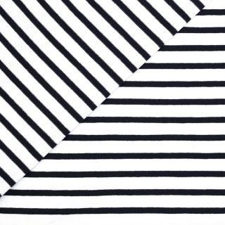 Single Jersey - Weiß mit 5mm Schwarzen Streifen