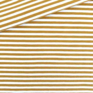 Single Jersey Ockergelb-Weiss 5mm Ringel