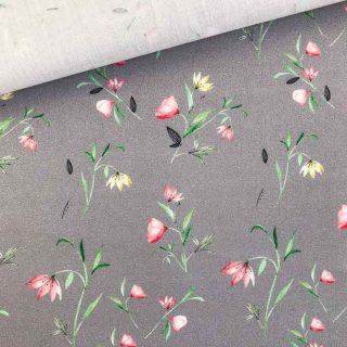 Popeline - Grau Blumen