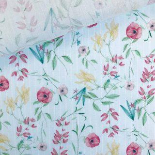 Popeline - Pastellmint Frühlingsblumen