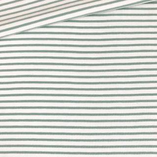 Single Jersey - Weiß mit 2 mm altmintgrünen Streifen