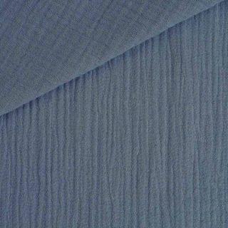 Musselin - Baumwollstoff - Mittleres Jeansblau