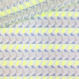 Baumwollgemisch - Weiß Neon Dreiecke