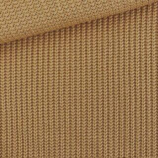 Baumwoll-Grobstrickstoff - Dunkles Camel Beige