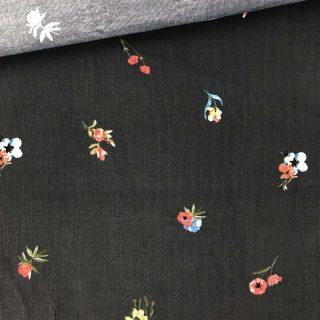 Feincord - Warmes Dunkelgrau Flowers