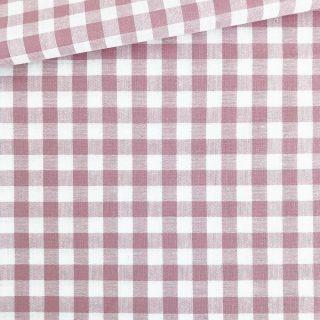 Baumwollstoff - Altrosa/ weiß 9 mm kariert