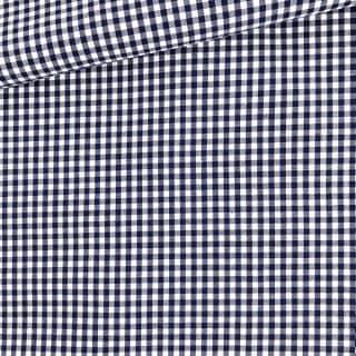 Baumwollstoff - Dunkelblau/ weiß 3 mm kariert