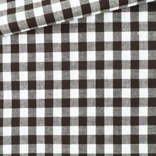 Baumwollstoff - Schokobraun/ weiß 9 mm kariert