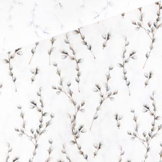 Popeline - Weiden-Knospen Cremeweiß