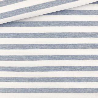 Single Jersey - Zartblau Melange/Weiß 10 mm gestreift