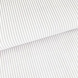 Baumwollstoff - Beige/ Weiß 3 mm Streifen