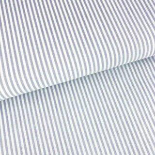 Baumwollstoff - Graublau/ Weiß 3 mm Streifen