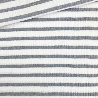 Musselin - Weiß mit dunkelblauen Streifen