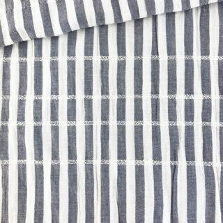 Baumwollgemisch - Crinkle Stripes Dunkelblau