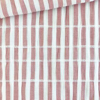 Baumwollgemisch - Crinkle Stripes Zimt Beere