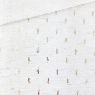 Viskose-Leinenmix - goldene Blätter Ecru meliert