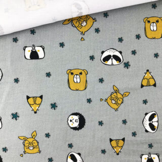 Single Jersey - Cute Animals Grau