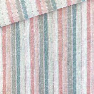 Viskose-Leinenmix - Pastell Streifen Lurex