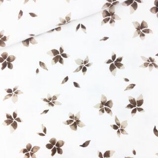Single Jersey - Brown Flowers Cremeweiß