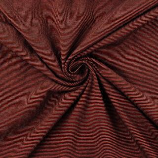 Single Jersey - Dusty Rost / Schwarz 1 mm gestreift