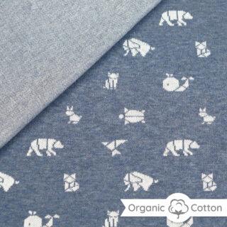 Jaquard Jersey - Jeansblau meliert/ weiß mit Origami Tieren - ORGANIC