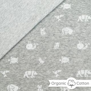 Jaquard Jersey - Mittelgrau meliert/ weiß mit Origami Tieren - ORGANIC