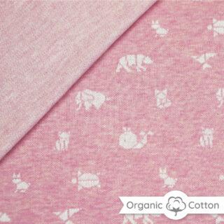 Jaquard Jersey - Rosa meliert/ weiß mit Origami Tieren - ORGANIC