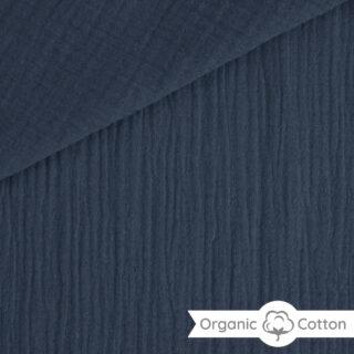 Musselin - Smoky Jeansblau - ORGANIC