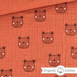 Musselin - Teddy Smoky Orange - ORGANIC