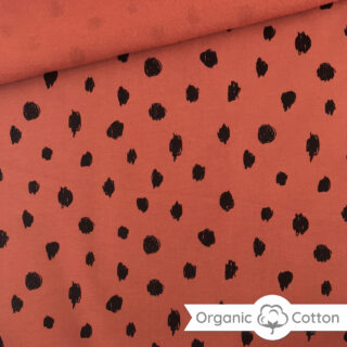 French Terry - leichter Kuschelsweat - Doodled Rost Orange - ORGANIC