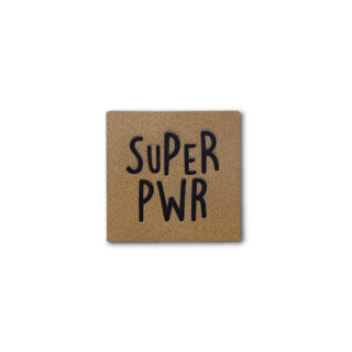 Label SUPER PWR - Lederbraun