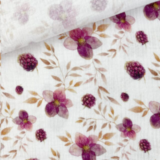 Musselin - Raspberry & Flowers Warmweiß