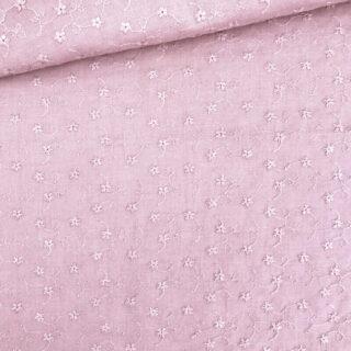 Baumwolle - Blumenstickerei Zartes Altrosa