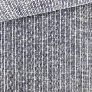 Leinen-Baumwollgemisch - Streifen Dunkelblau