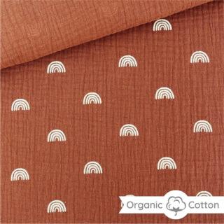 Musselin - Regenbogen Rost Orange/Camel