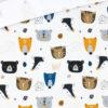 French Terry - dünner Sweatshirtstoff - Dachs Tiger Bär Cremeweiß