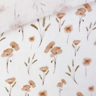 Musselin - Mohnblumen Warmweiß