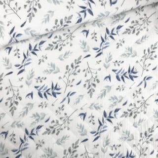 Stepp-Musselin - Pastell-Blaue Zweige Warmweiß