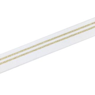Gummiband Weiß mit 2 goldenen Streifen - 30 mm
