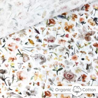 Musselin - Summerflowers Warmweiß