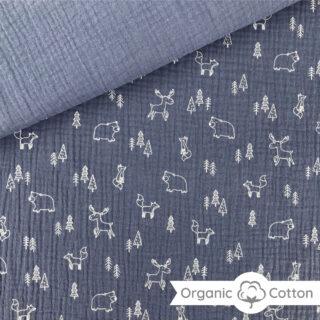 Musselin - Woodland Animals Smoky Jeansblau - ORGANIC