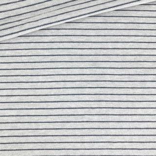 French Terry - Sommersweat - Mittelgrau meliert mit 2 mm dunkelblauen Streifen