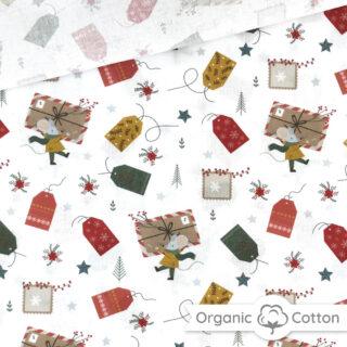 Popeline - Weihnachtsmaus Weiß - ORGANIC