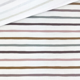 Single Jersey - Boho Dream Stripes Staubweiß