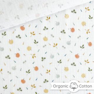 Musselin - Apples & Leaves Warmweiß - ORGANIC