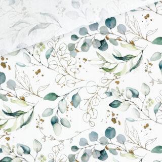 Popeline - Gold & Eukalyptus Weiß