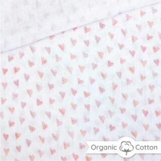 Musselin - Little Hearts Warmweiß - ORGANIC